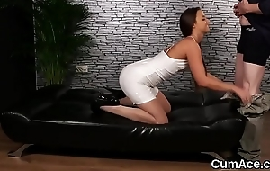 Frisky idol gets jizz saddle with on her face swallowing all the saddle with