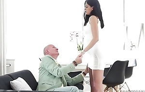 Brunette Teen Fucked unconnected with Grandpa