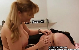 Freaky Alex poked and dressed up by the Strap On Princess big titty femdom