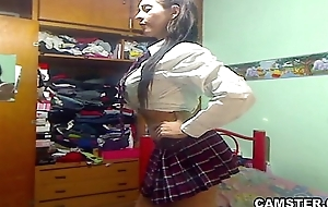 Big tits &amp_ ass Latin schoolgirl take-off get off on will not hear of uniform