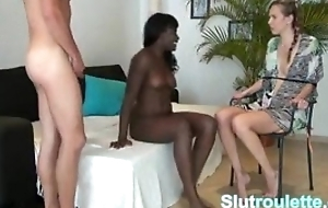 Cuckold German gf tied at hand and observing bf pound ebony
