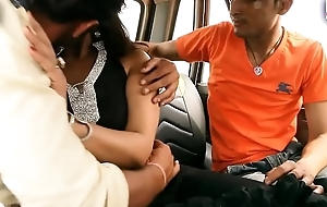 Bgrade indian desi babe has her breast pressed in a car.