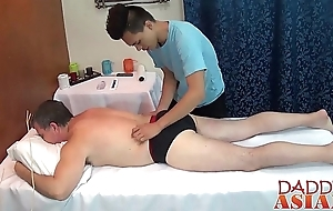 Daddy calls the oriental masseur for some hot extra service