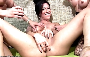 Chicks with dicks sit tight butts on hard cocks in foursome