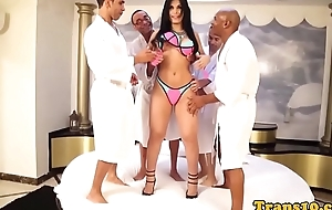 Gorgeous tgirl spitroasted in decide sexfest