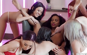 Juvenile lezzies enjoy hot pussy-licking in wild orgy